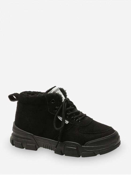 سهل ربط الحذاء حتى الصوف الشحن أحذية - أسود الاتحاد الأوروبي 37