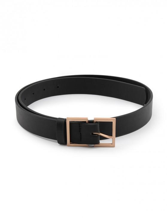 affordable Brief Rectangle Pin Buckle Belt - BLACK