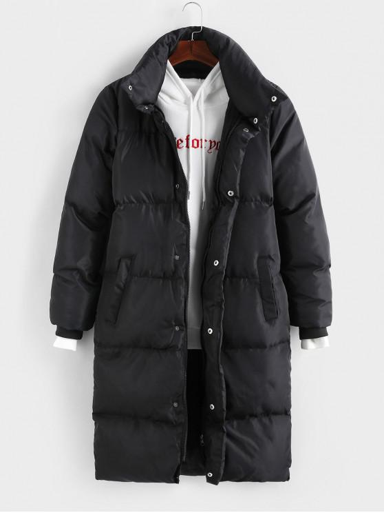 womens Solid Color Zipper Up Puffer Coat - BLACK S