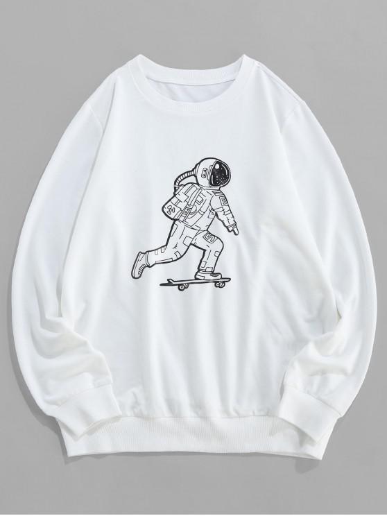 ladies ZAFUL Astronaut Skating Print Crew Neck Sweatshirt - WHITE XL