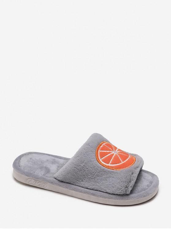可愛的刺繡模糊室內鞋 - 淺灰 歐盟38