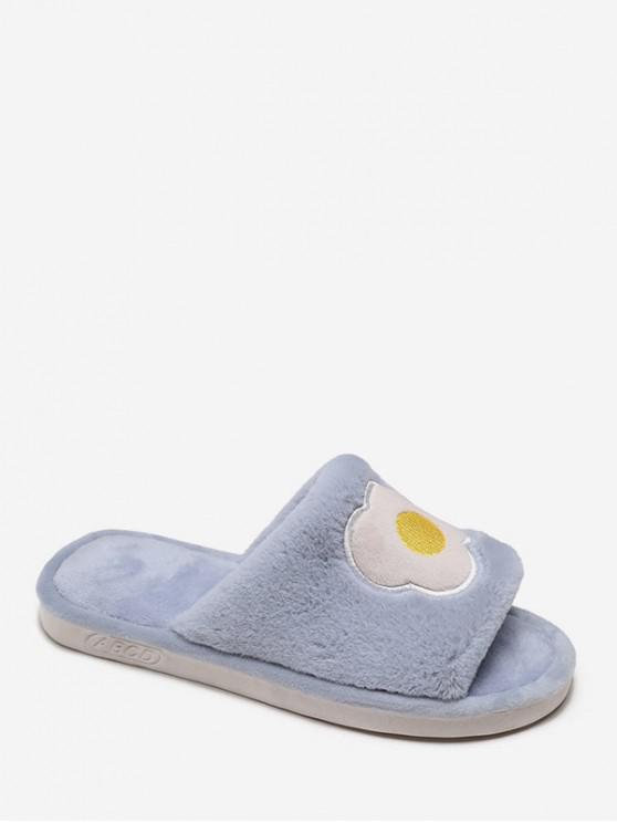可愛的刺繡模糊室內鞋 - 天藍色 歐盟38