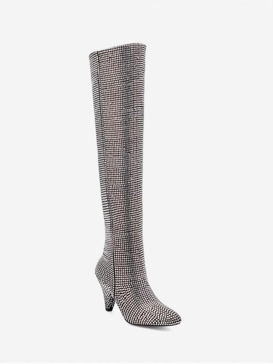 حجر الراين الكامل اشار تو الفخذ أحذية عالية - فضة الاتحاد الأوروبي 39