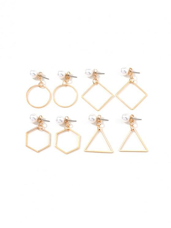 outfit 4Pairs Faux Pearl Geometric Earrings Set - GOLD