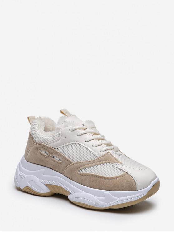 latest Mix Material Fleece Dad Sneakers - BEIGE EU 35