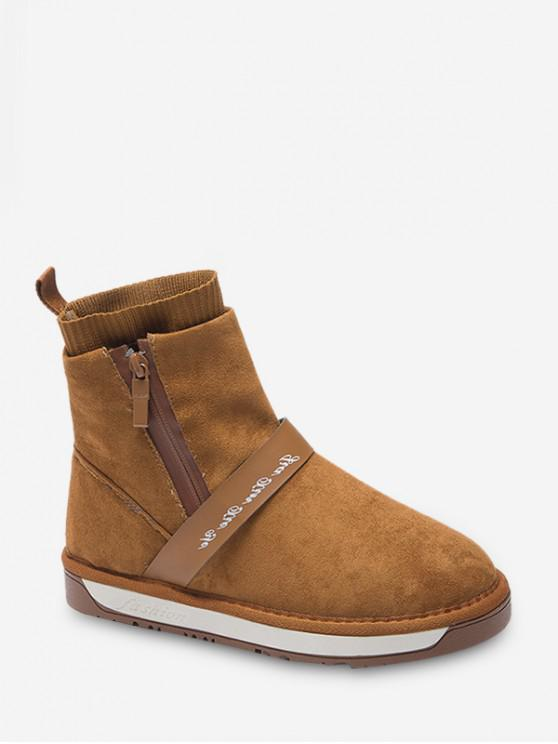 fancy Casual Round Toe Suede Ankle Boots - BROWN EU 36