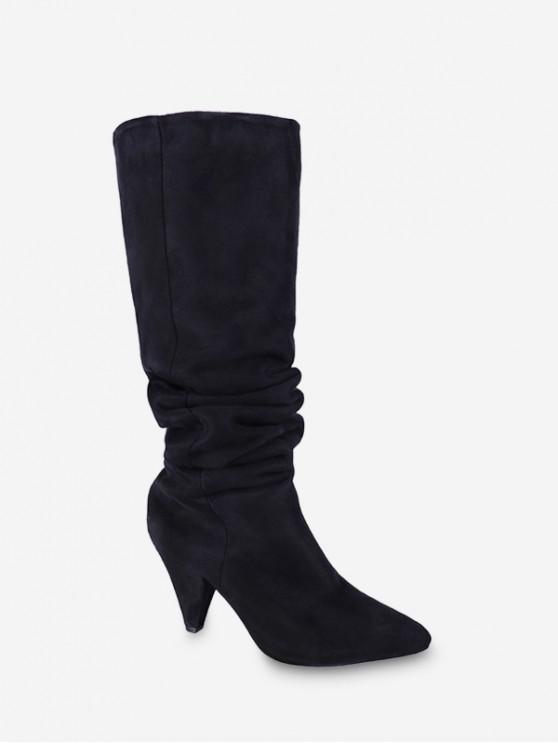 牙輪褶飾麂皮長靴 - 黑色 歐盟39
