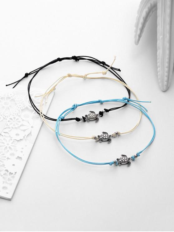 women 3PCS Alloy Sea Turtle Beach Anklets - SILVER