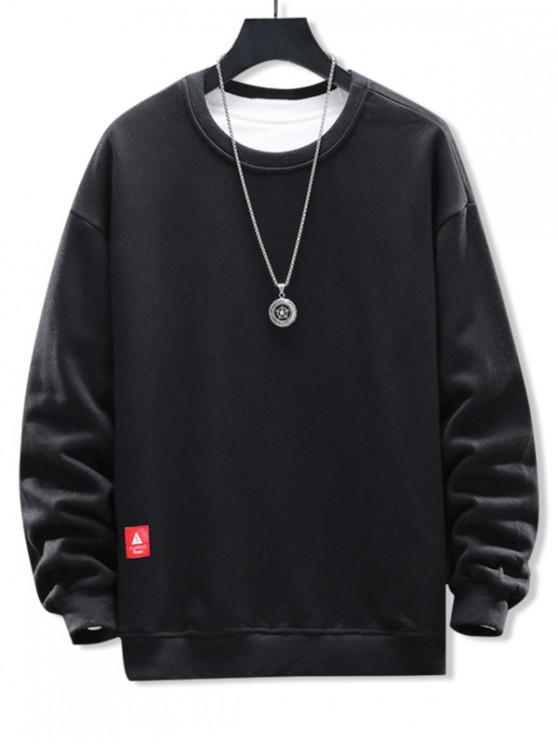 trendy Solid Applique Crew Neck Sweatshirt - NATURAL BLACK 2XL