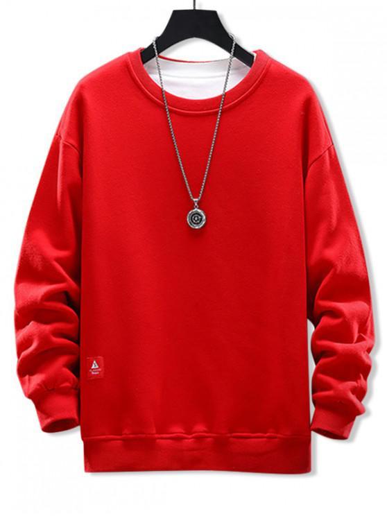 ladies Solid Applique Crew Neck Sweatshirt - RUBY RED 3XL