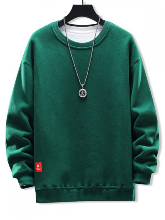lady Solid Applique Crew Neck Sweatshirt - JUNGLE GREEN M