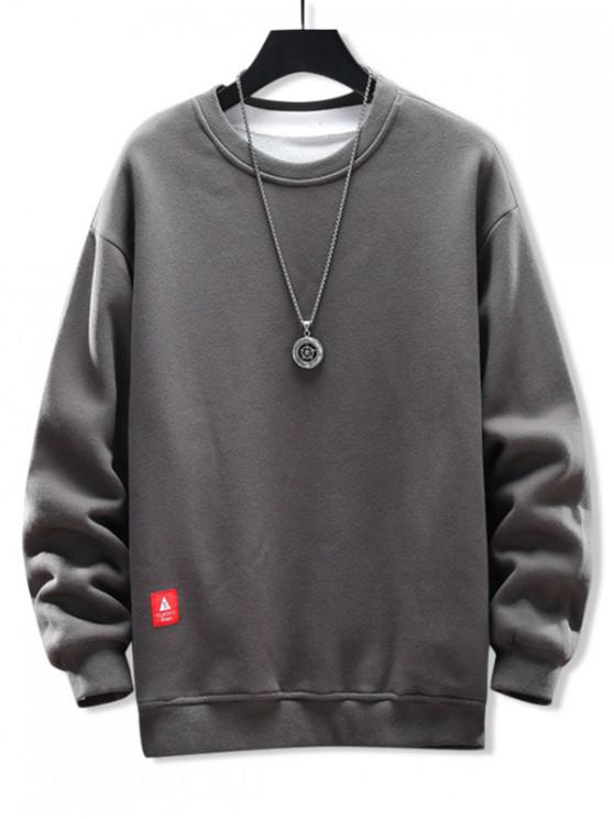 outfit Solid Applique Crew Neck Sweatshirt - GRAY CLOUD M