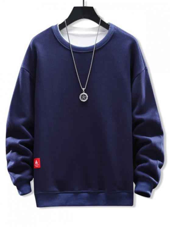 fashion Solid Applique Crew Neck Sweatshirt - DEEP BLUE L