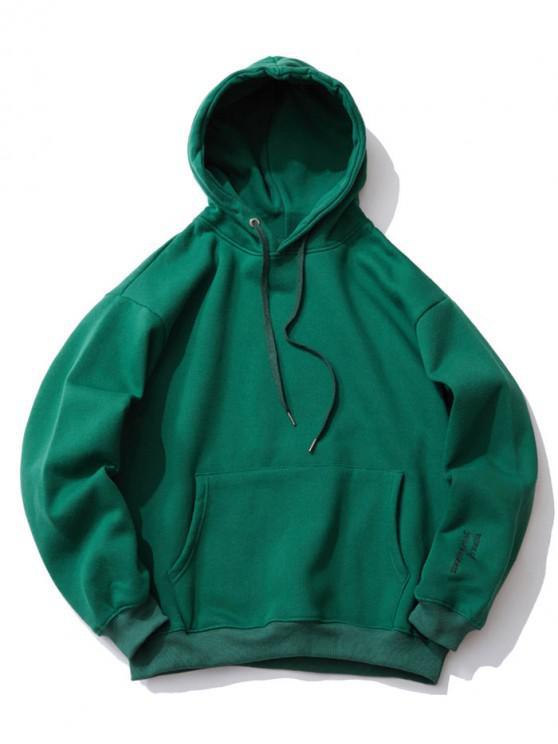 刺繡細節落肩抓絨帽衫 - 深綠色 XL