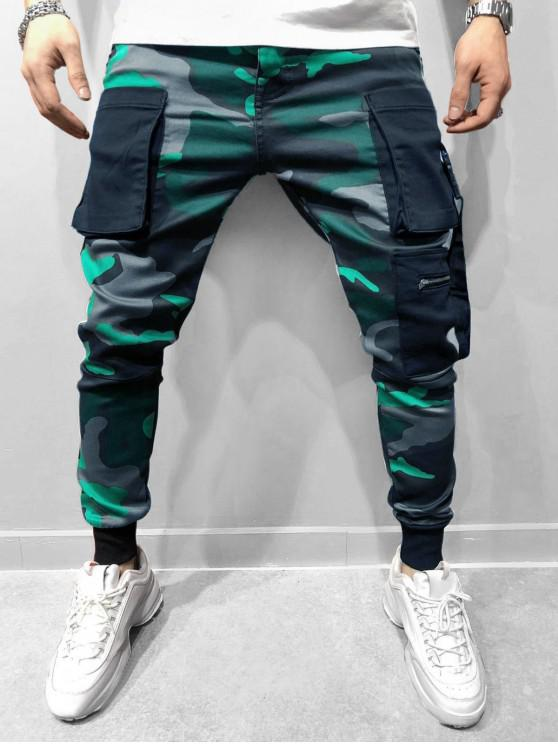 buy Camo Printed Elastic Waist Jogger Pants - ALGAE GREEN 3XL