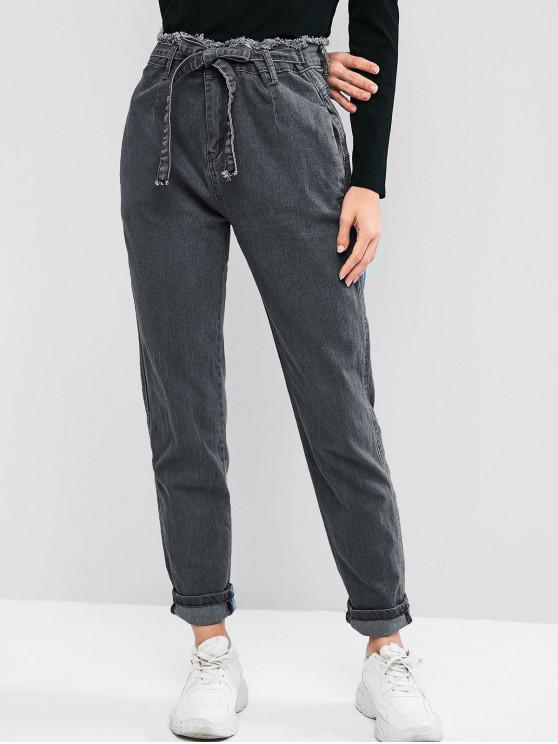 trendy Frayed High Waisted Pocket Tie Mom Jeans - BATTLESHIP GRAY XL