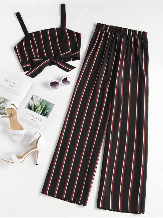 fancy Striped Zip Top and Wide Leg Pants - BLACK S