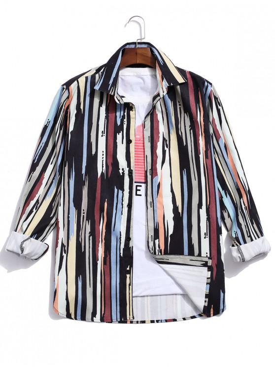 latest Vintage Striped Pattern Long Sleeves Shirt - MULTI-A M