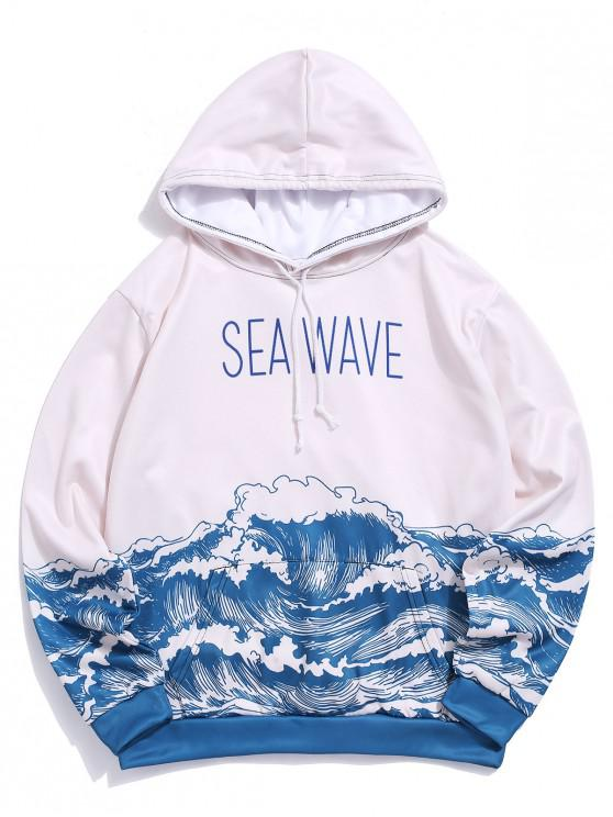 chic Sea Wave Print Pouch Pocket Fleece Hoodie - MULTI-A 3XL