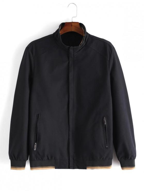 Повседневная Куртка Молния Карман Цветной сплесень - Чёрный M