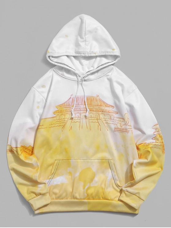 latest Ombre Palace Print Drawstring Casual Hoodie - CORN YELLOW 2XL