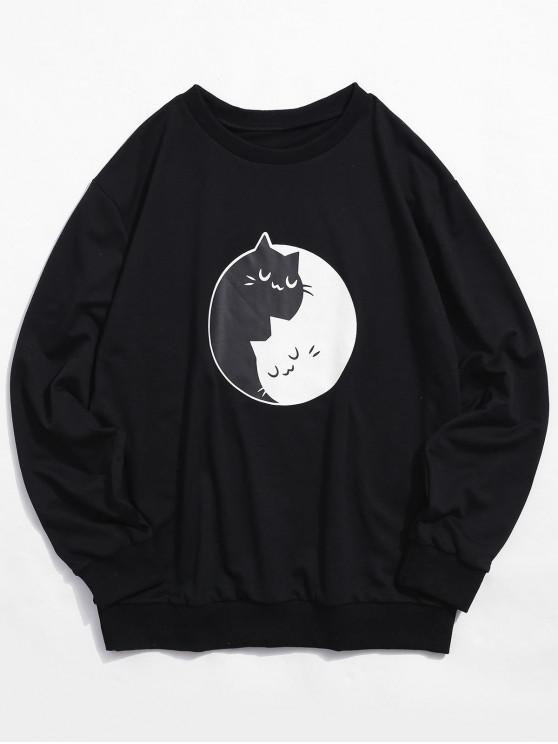 women's Two Tone Cartoon Cat Print Sweatshirt - BLACK 2XL
