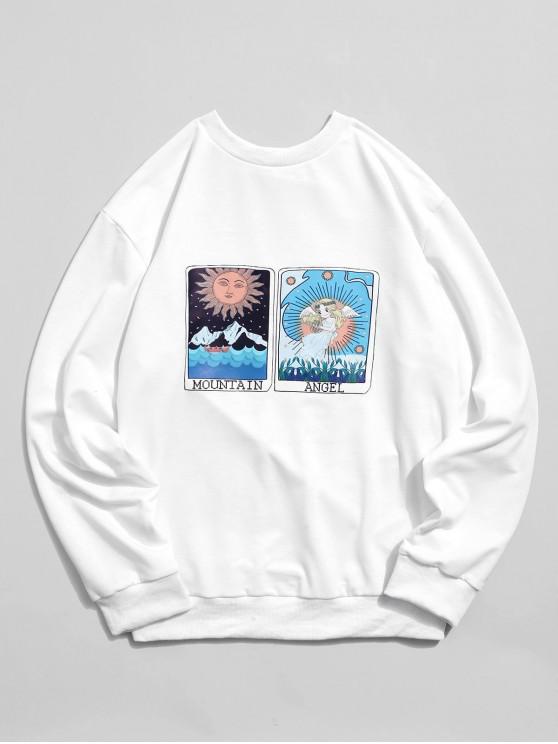 online Cartoon Sun Mountain and Angel Graphic Print Sweatshirt - WHITE XL