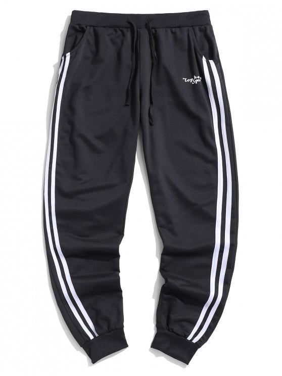 ladies Letter Print Striped Sport Jogger Pants - BLACK L