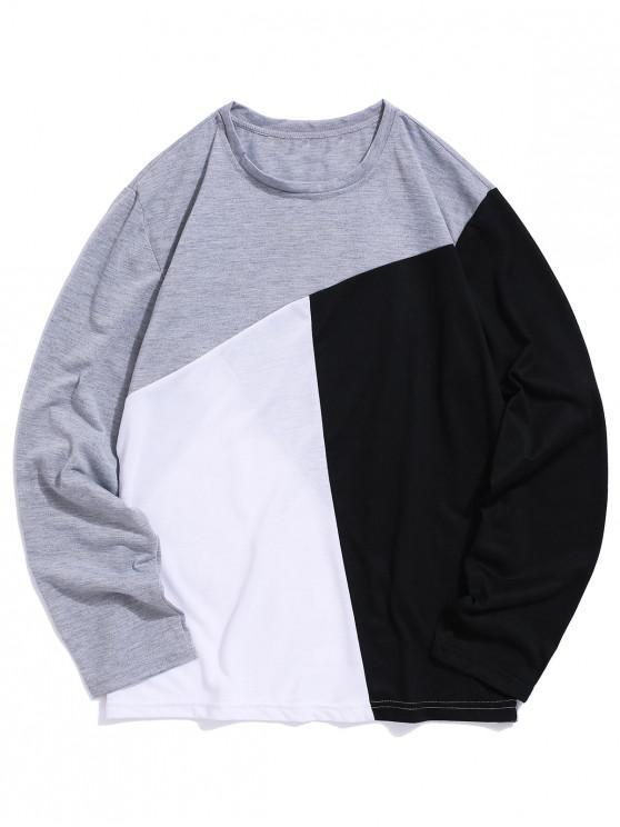 fancy Colorblock Panel Long Sleeve Casual T-shirt - GRAY M