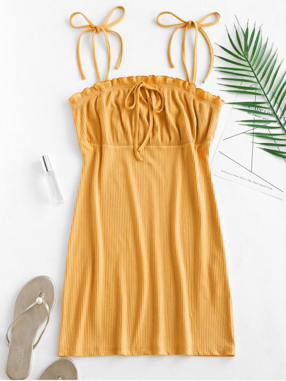 高腰荷葉邊連衣裙卡米 - 黃色 L