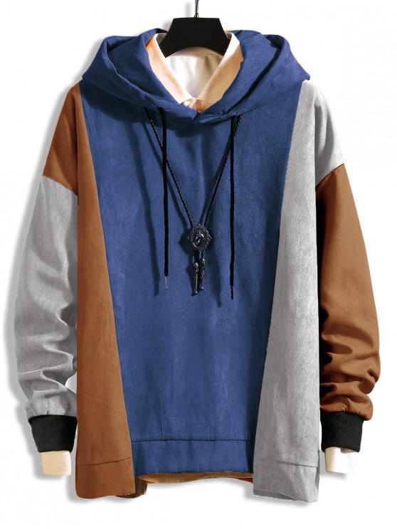 配色 ドロップショルダー 非対称裾 巾着 パーカー - ブルーグレー 2XL