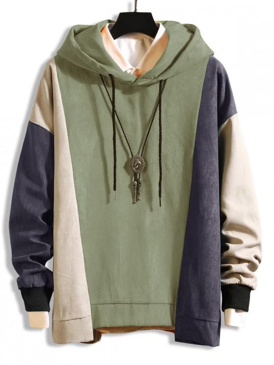 配色 ドロップショルダー 非対称裾 巾着 パーカー - ライトグリーン 2XL