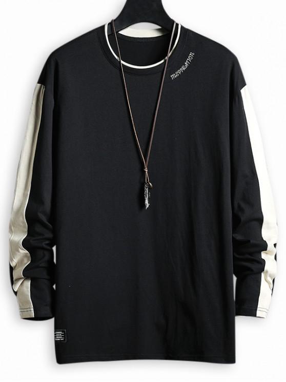 hot Letter Pattern Color Spliced T-shirt - BLACK 3XL