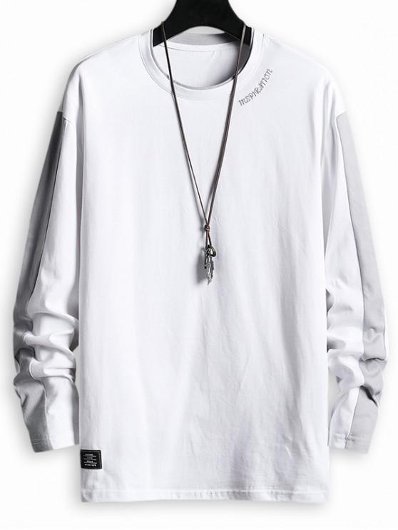 buy Letter Pattern Color Spliced T-shirt - WHITE L