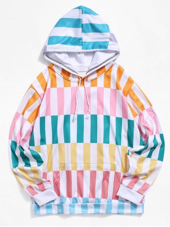 trendy Colorblock Striped Print Pouch Pocket Fleece Hoodie - MULTI-A 4XL