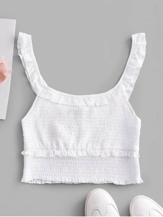 affordable Ruffled Smocked Cropped Tank Top - WHITE L