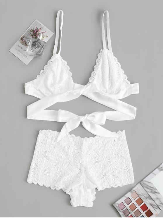 buy Tie Waist Scalloped Lace Lingerie Set - WHITE M