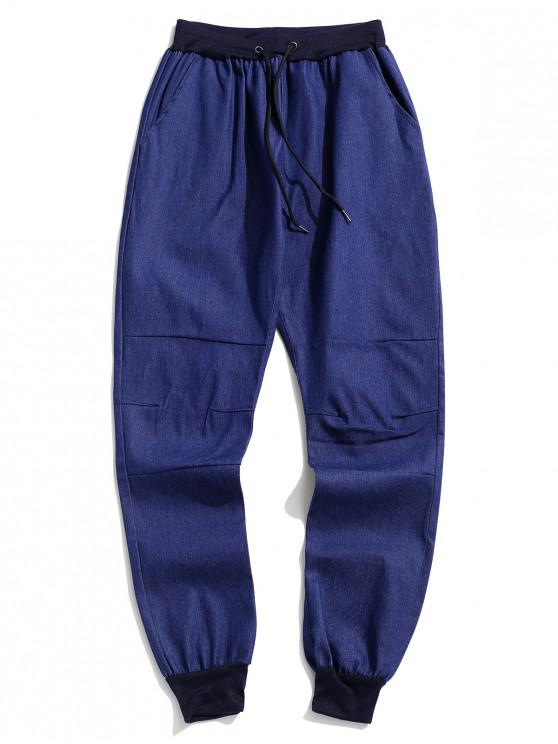 ladies Solid Spliced Drawstring Jogger Pants - BLUE S