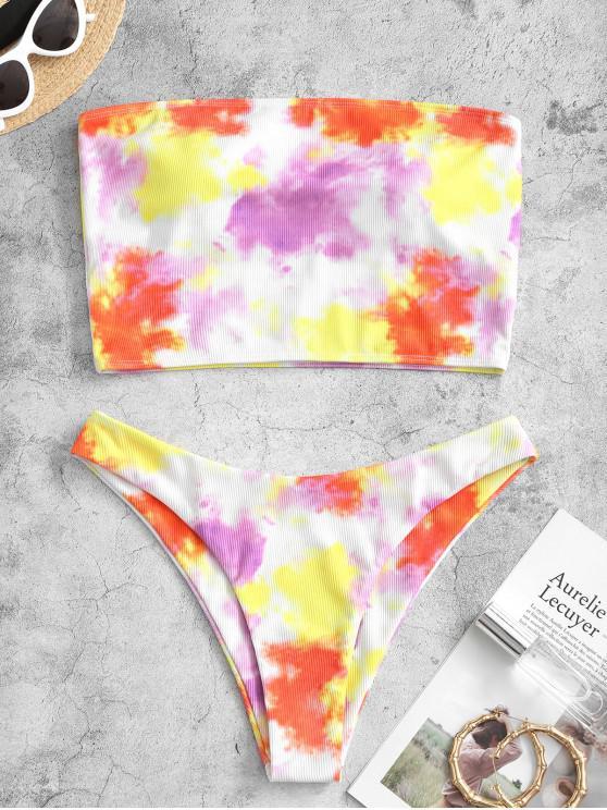 Bikini A Fascia A Costine Di Tie-Dye Di ZAFUL - Arancio 2XL