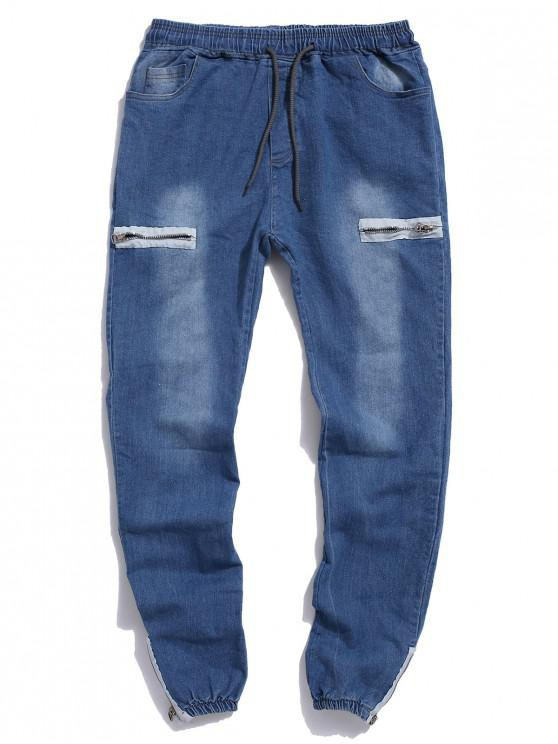 outfit Zipper Hem Drawstring Jogger Jeans - LIGHT BLUE XS