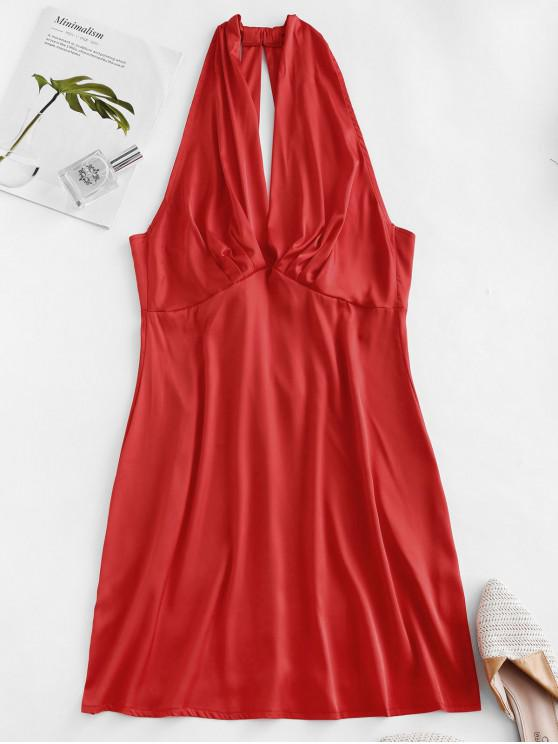 latest Plunge Pleated-detail Silky Satin Dress - RED XL