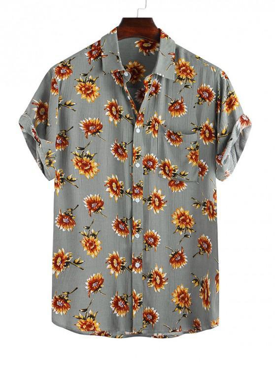 women Flower Print Pocket Short Sleeve Button Shirt - CAMOUFLAGE GREEN S