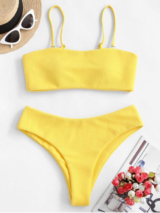 shops ZAFUL Textured Bandeau Bikini Set - YELLOW XL
