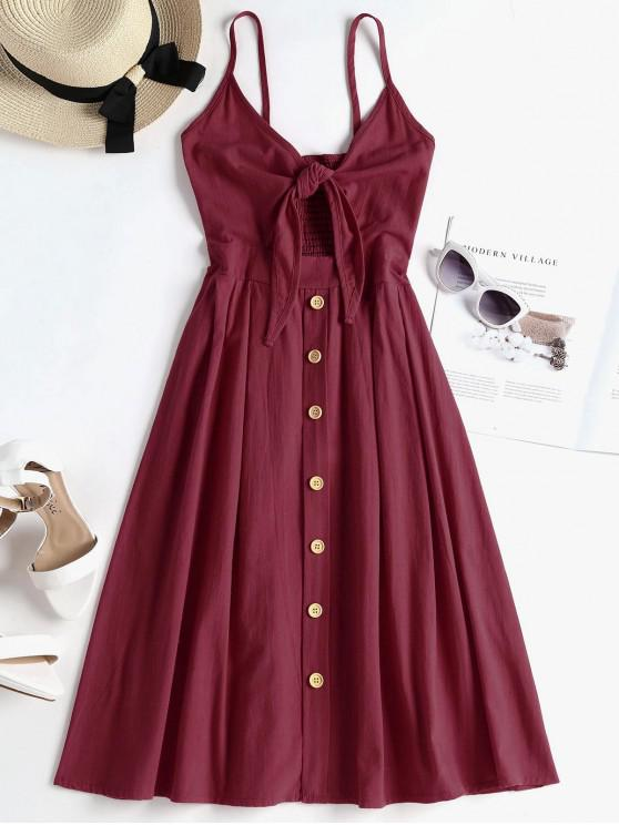affordable Smocked Tie Front Cami Dress - RED WINE M