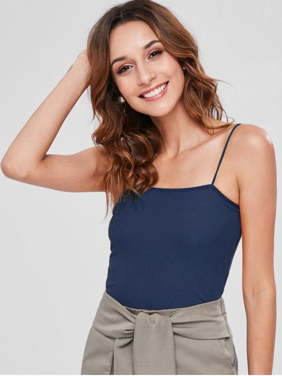 womens Skinny Ribbed Cropped Cami Top - MIDNIGHT BLUE ONE SIZE