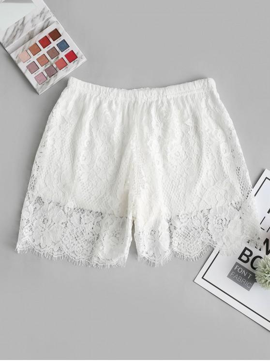 outfit Lace See Thru Eyelash Safety Shorts - WHITE ONE SIZE