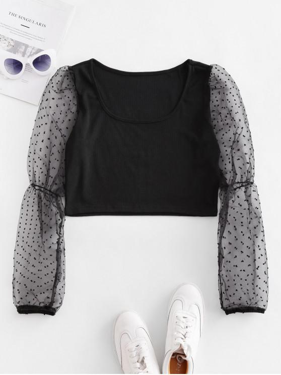 women's Swiss Dot See Thru Sleeves Crop Blouse - BLACK S