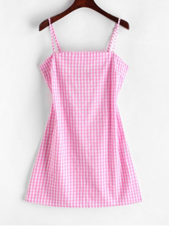online ZAFUL Tie Gingham Cut Out Mini Dress - PINK M