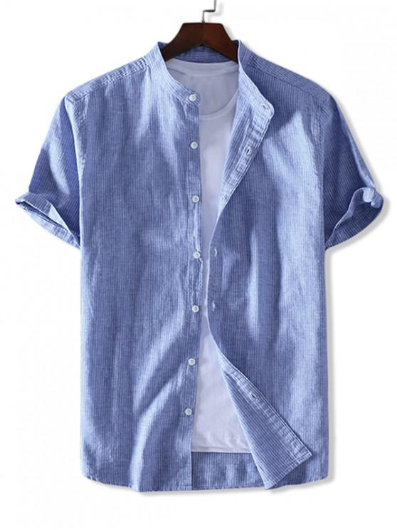 buy ZAFUL Striped Print Button Short Sleeves Shirt - SEA BLUE M