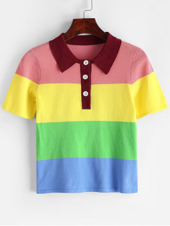 hot ZAFUL Rainbow Half Button Knitted T-shirt - MULTI-A L